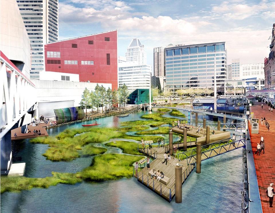 2018 ASLA研究类荣誉奖:城市水健康 – 将新技术和弹性设施融入漂浮湿地,美国马里兰州