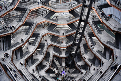 NEW YORK, NEW YORK - MARCH 15: A view inside the Vessel at Hudson Yards, New York's Newest Neighborhood, Official Opening Event on March 15, 2019 in New York City. (Photo by Clint Spaulding/Getty Images for Related)
